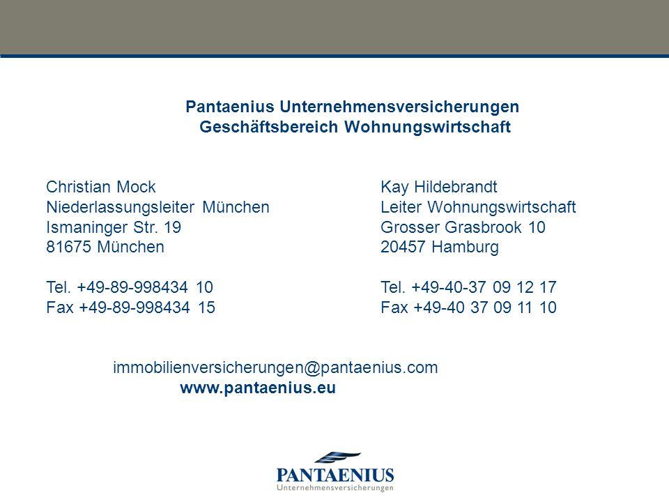 Pantaenius Unternehmensversicherungen Geschäftsbereich Wohnungswirtschaft