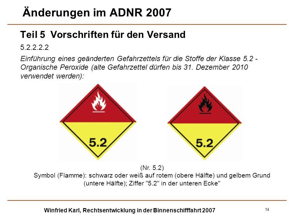 Winfried Karl, Rechtsentwicklung in der Binnenschifffahrt 2007