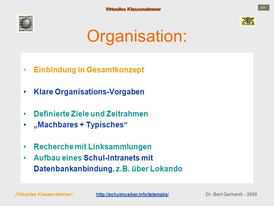 Organisation: Einbindung in Gesamtkonzept Klare Organisations-Vorgaben