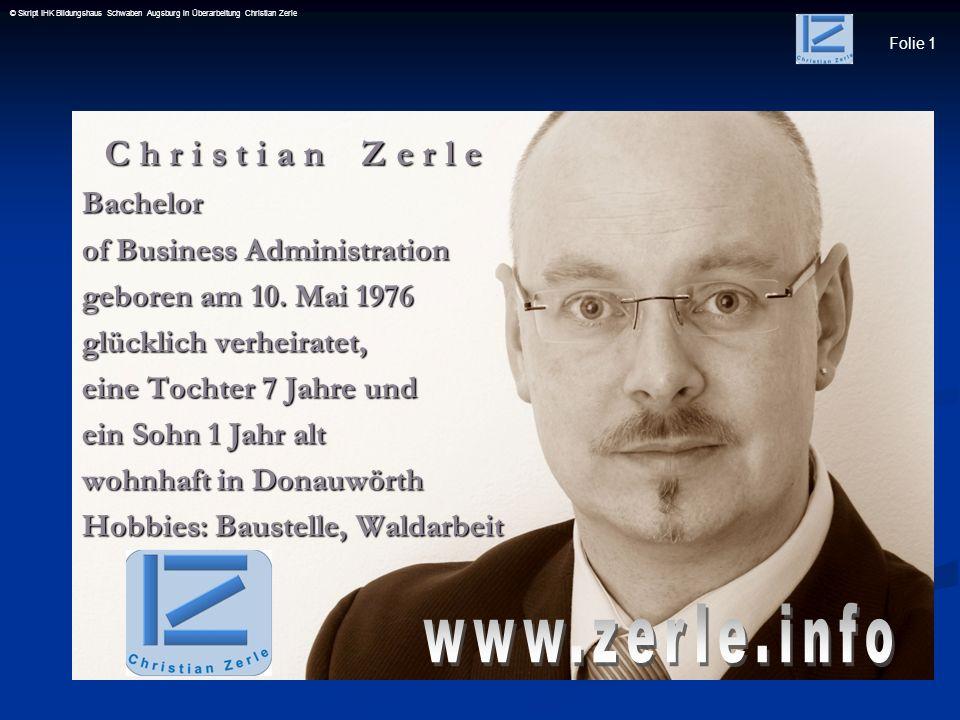 www.zerle.info C h r i s t i a n Z e r l e Bachelor