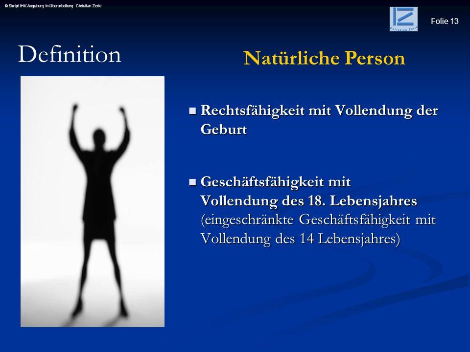 Definition Natürliche Person Rechtsfähigkeit mit Vollendung der Geburt