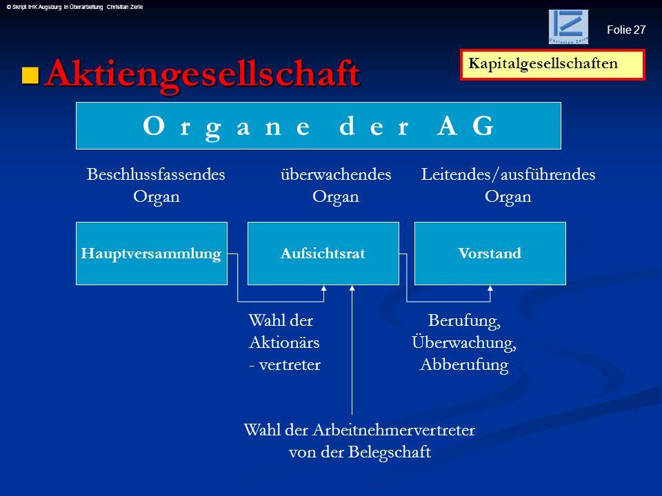 Aktiengesellschaft O r g a n e d e r A G Beschlussfassendes Organ