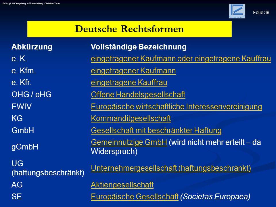 Deutsche Rechtsformen