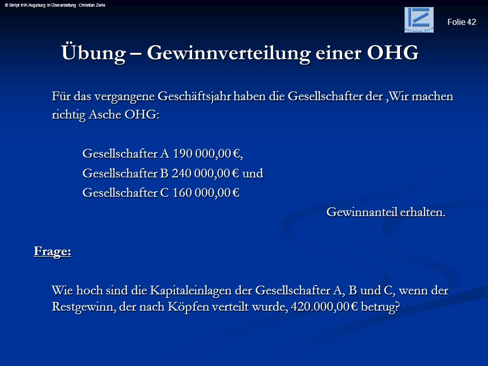 Übung – Gewinnverteilung einer OHG