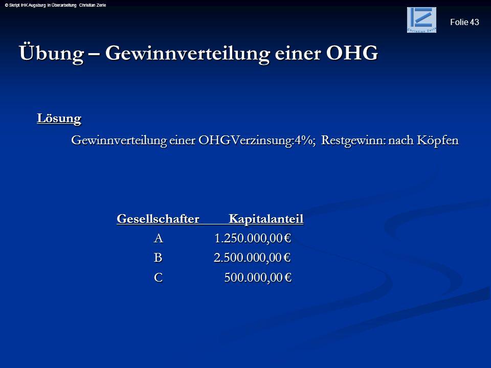 Übung – Gewinnverteilung einer OHG Lösung
