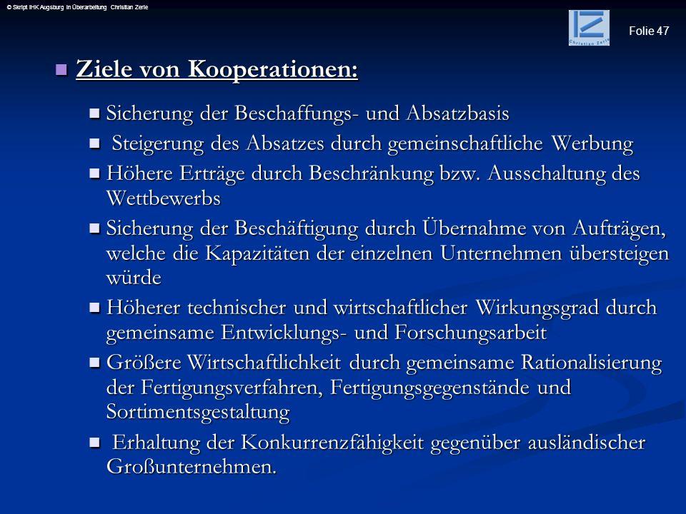 Ziele von Kooperationen:
