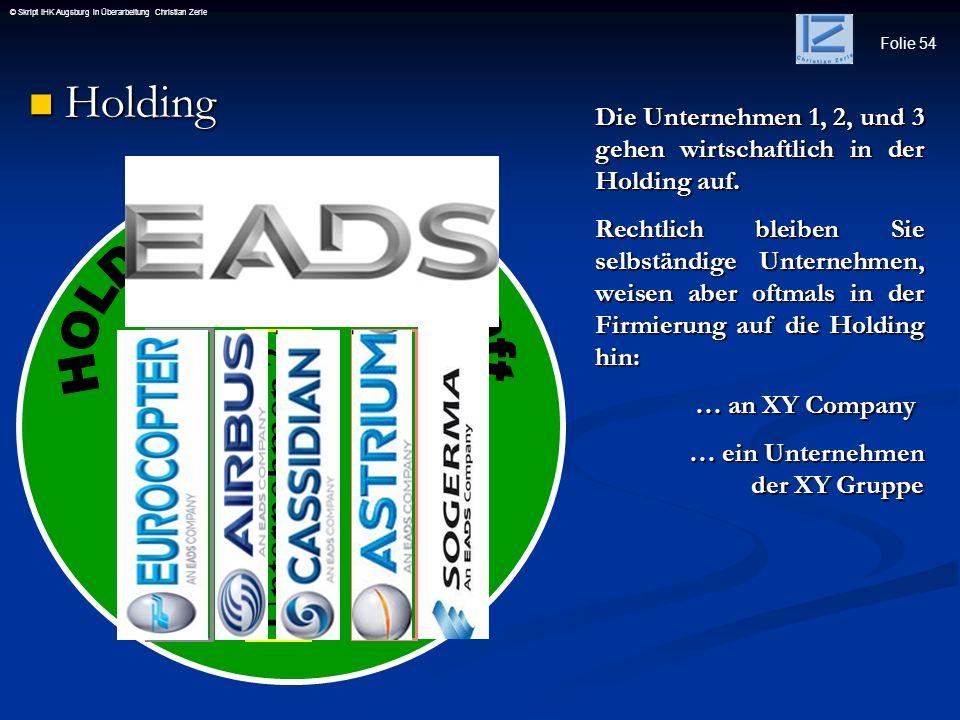 Holding HOLDING Gesellschaft Unternehmen 1 Unternehmen 3 Unternehmen 1