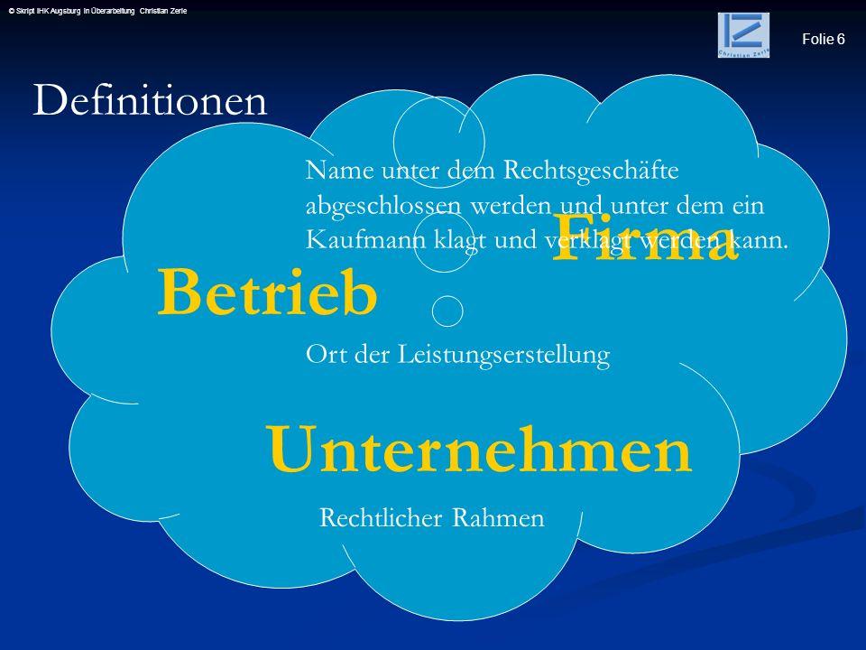 Firma Betrieb Unternehmen Definitionen