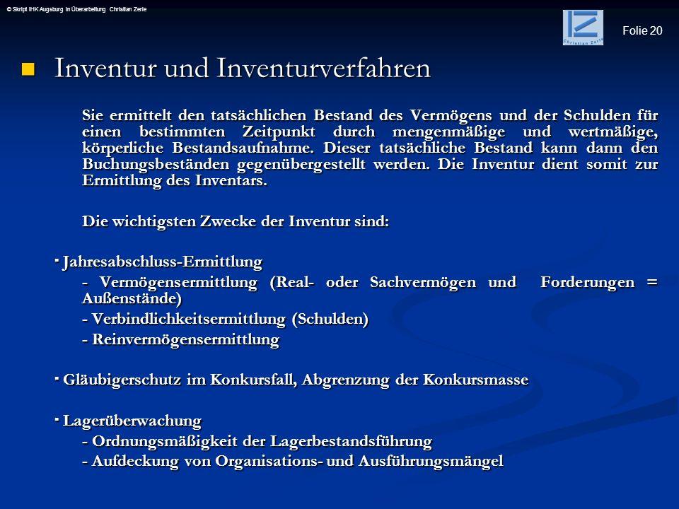 Inventur und Inventurverfahren