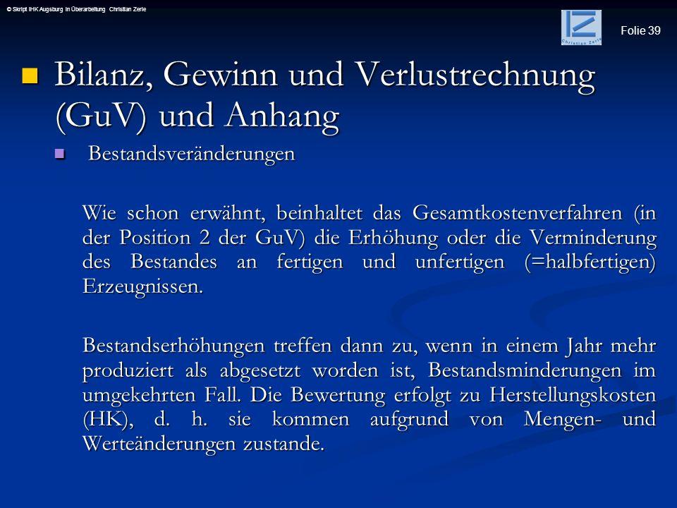 Bilanz, Gewinn und Verlustrechnung (GuV) und Anhang