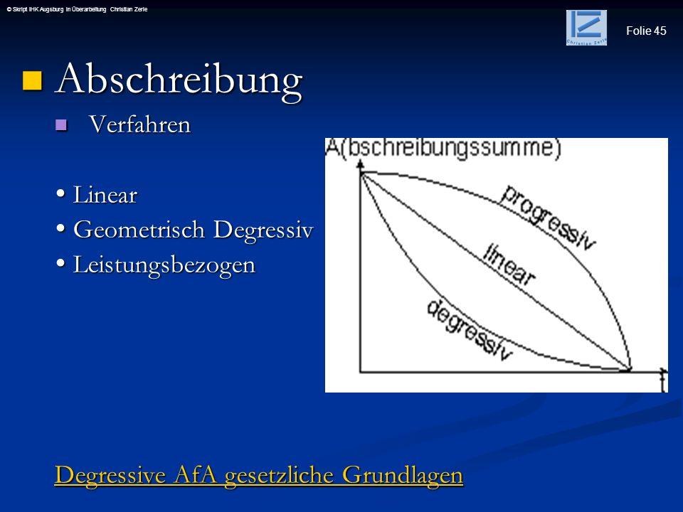 Abschreibung Verfahren  Linear  Geometrisch Degressiv
