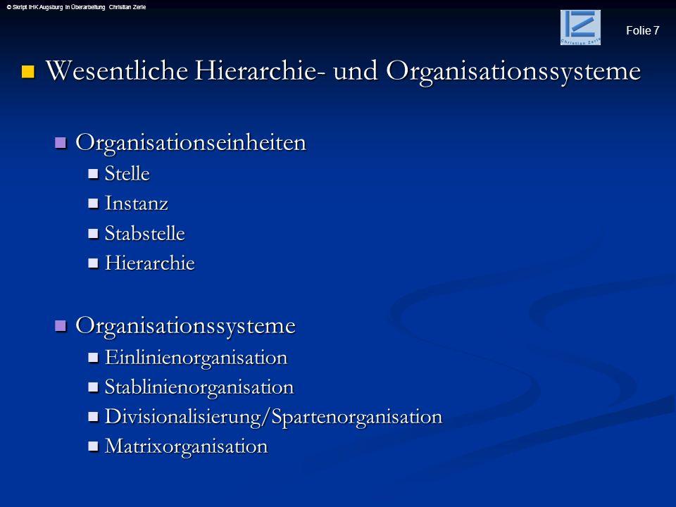 Wesentliche Hierarchie- und Organisationssysteme