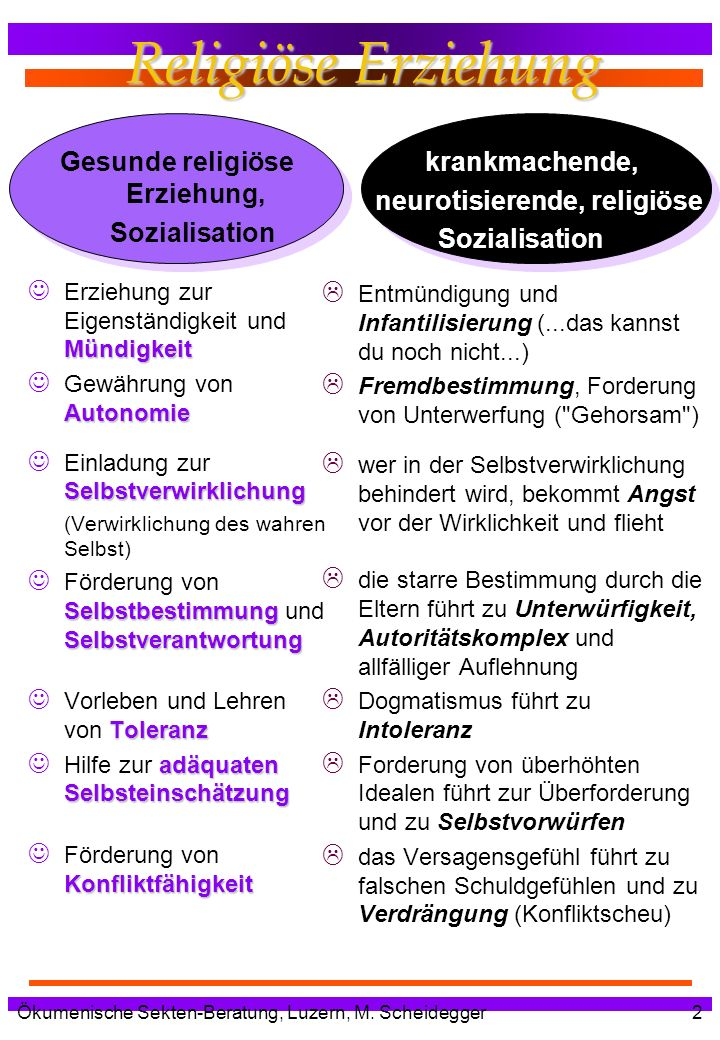 Gesunde religiöse Erziehung, neurotisierende, religiöse
