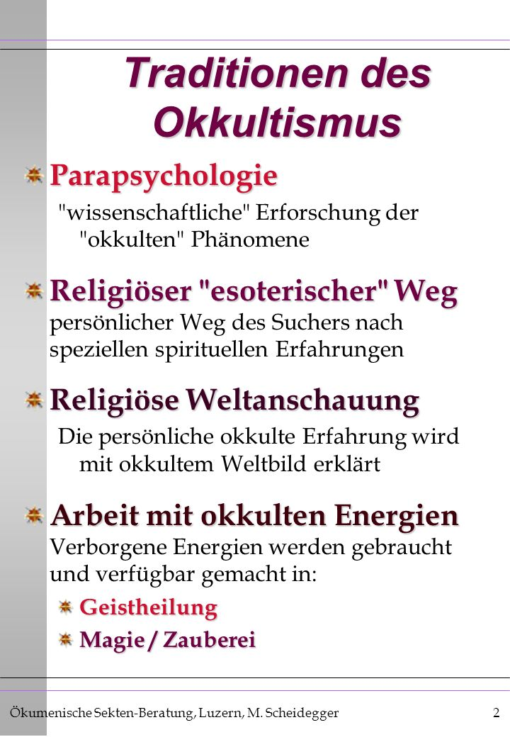 Traditionen des Okkultismus