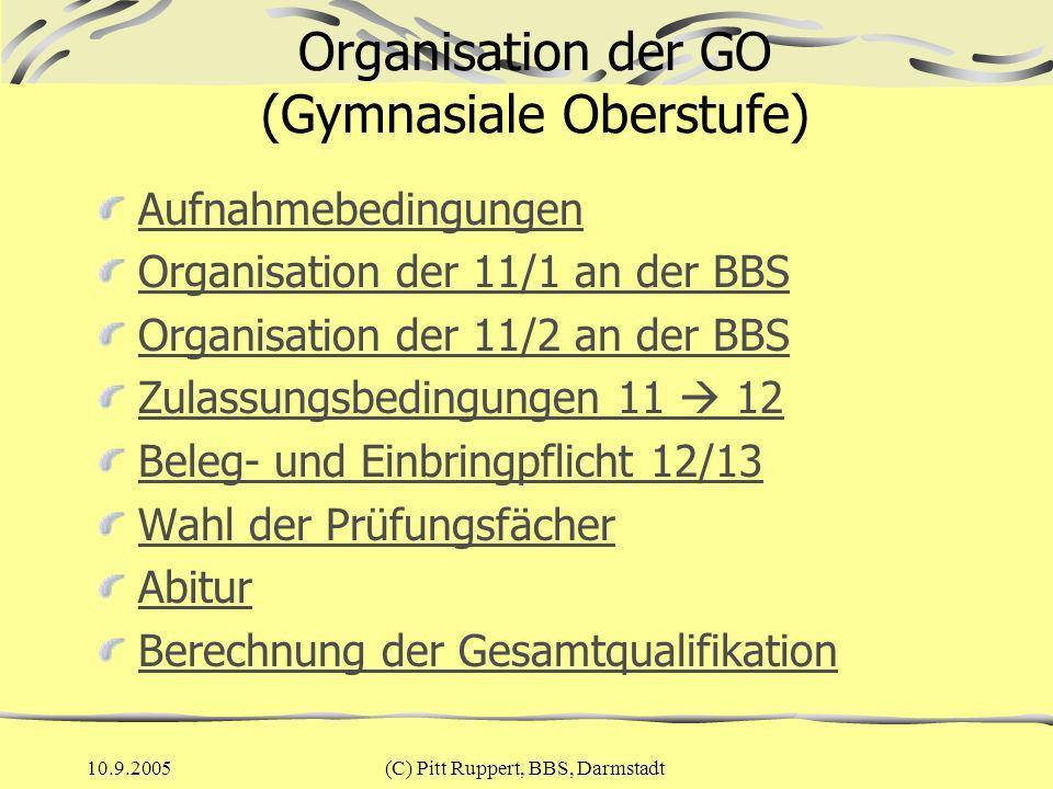 Organisation der GO (Gymnasiale Oberstufe)