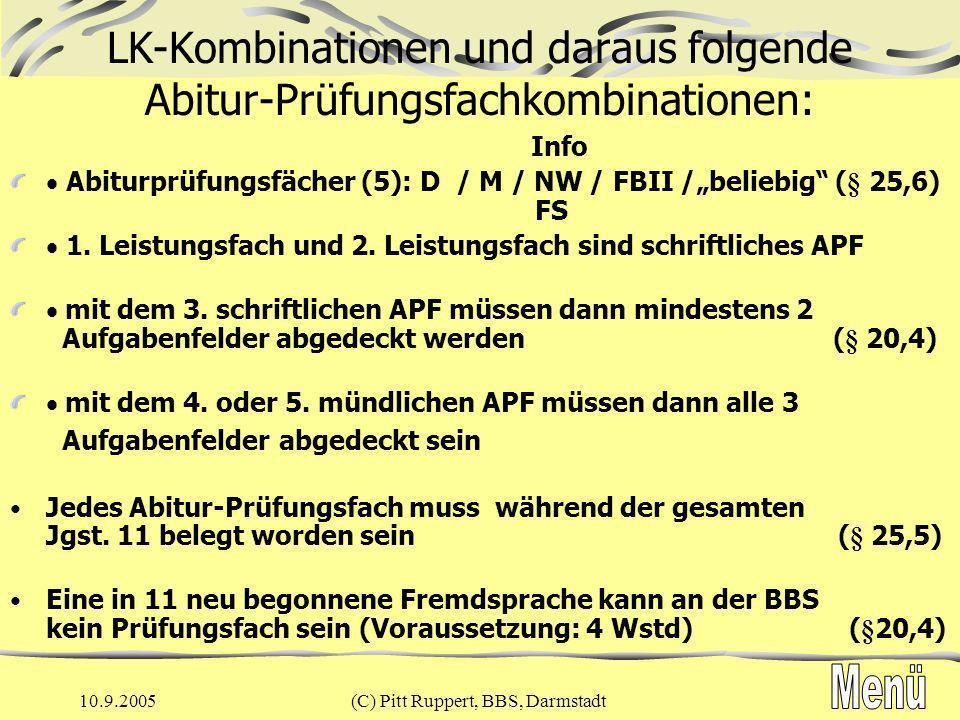 LK-Kombinationen und daraus folgende Abitur-Prüfungsfachkombinationen: