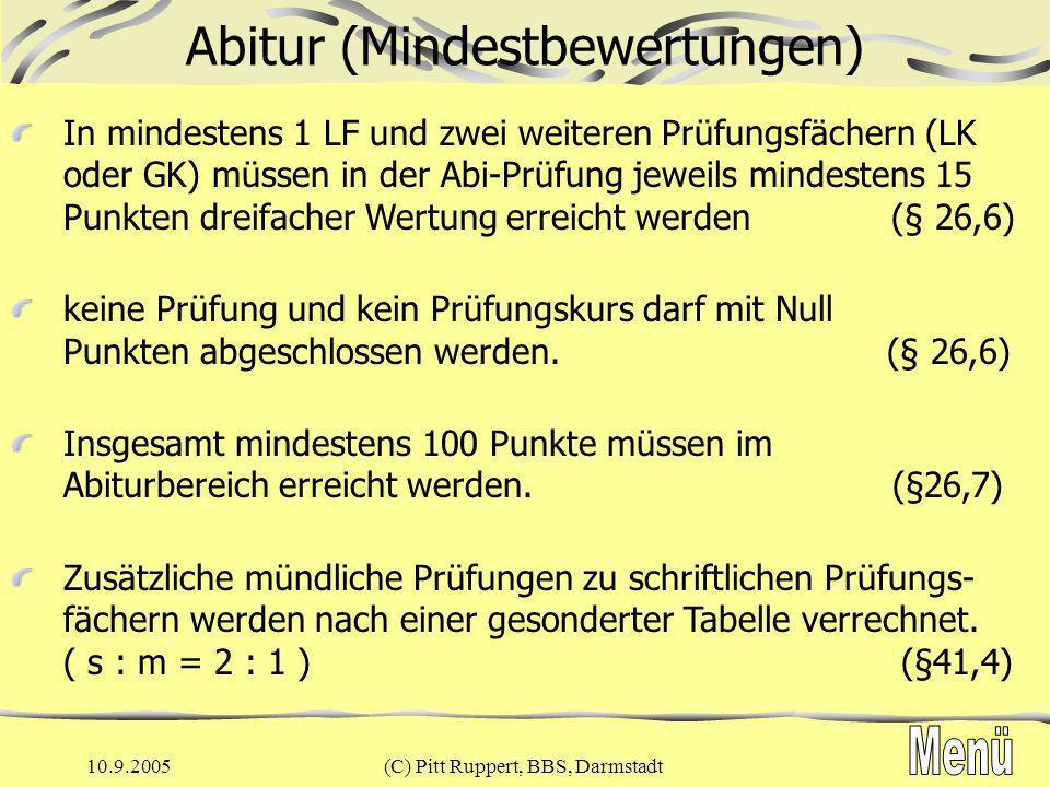 Abitur (Mindestbewertungen)