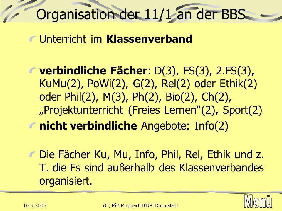 Organisation der 11/1 an der BBS