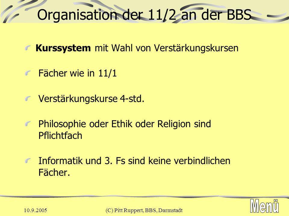 Organisation der 11/2 an der BBS