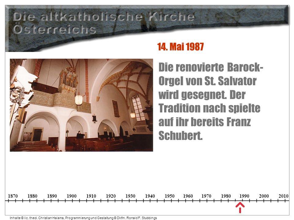 14. Mai 1987 Die renovierte Barock-Orgel von St. Salvator wird gesegnet.
