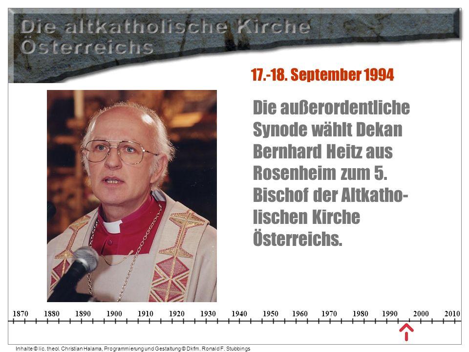 17.-18. September 1994 Die außerordentliche Synode wählt Dekan Bernhard Heitz aus Rosenheim zum 5.