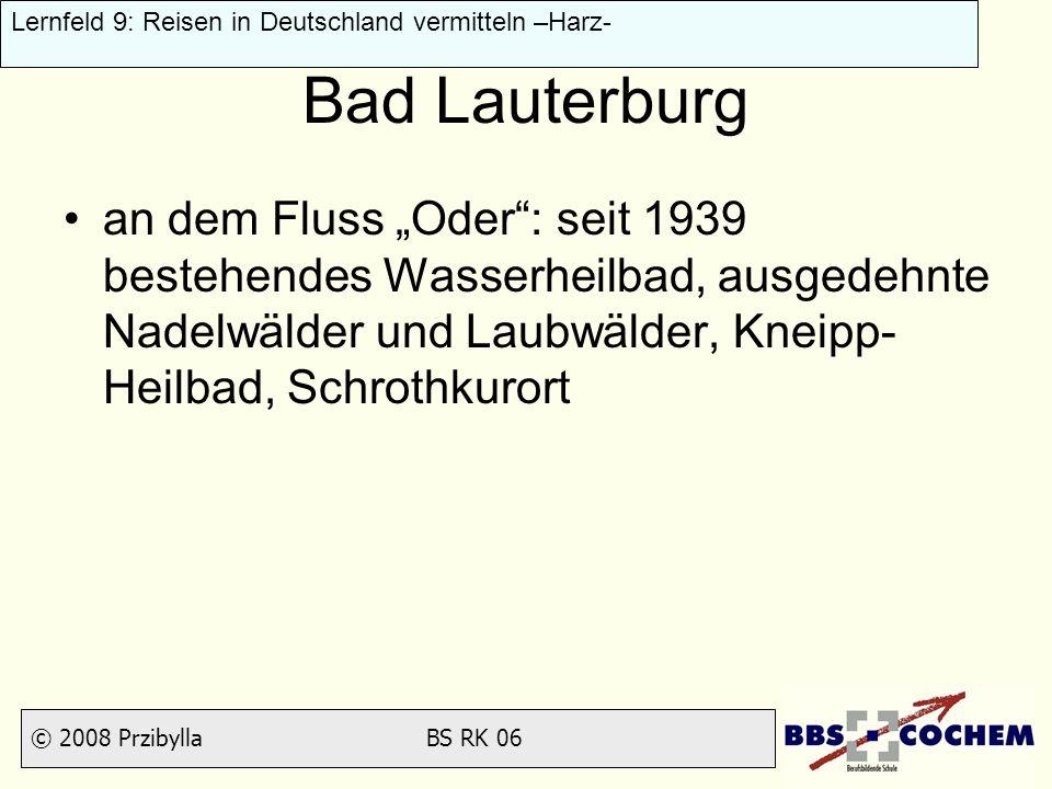 """Bad Lauterburg an dem Fluss """"Oder : seit 1939 bestehendes Wasserheilbad, ausgedehnte Nadelwälder und Laubwälder, Kneipp-Heilbad, Schrothkurort."""