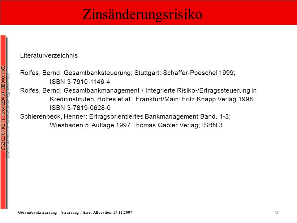 Zinsänderungsrisiko Literaturverzeichnis