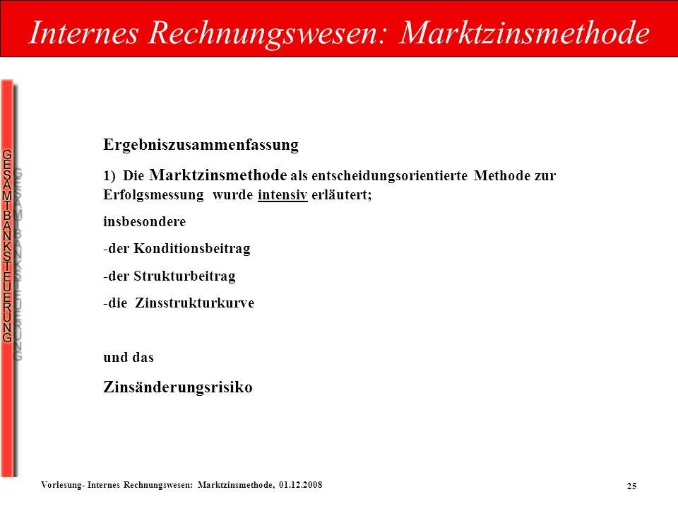 Internes Rechnungswesen: Marktzinsmethode
