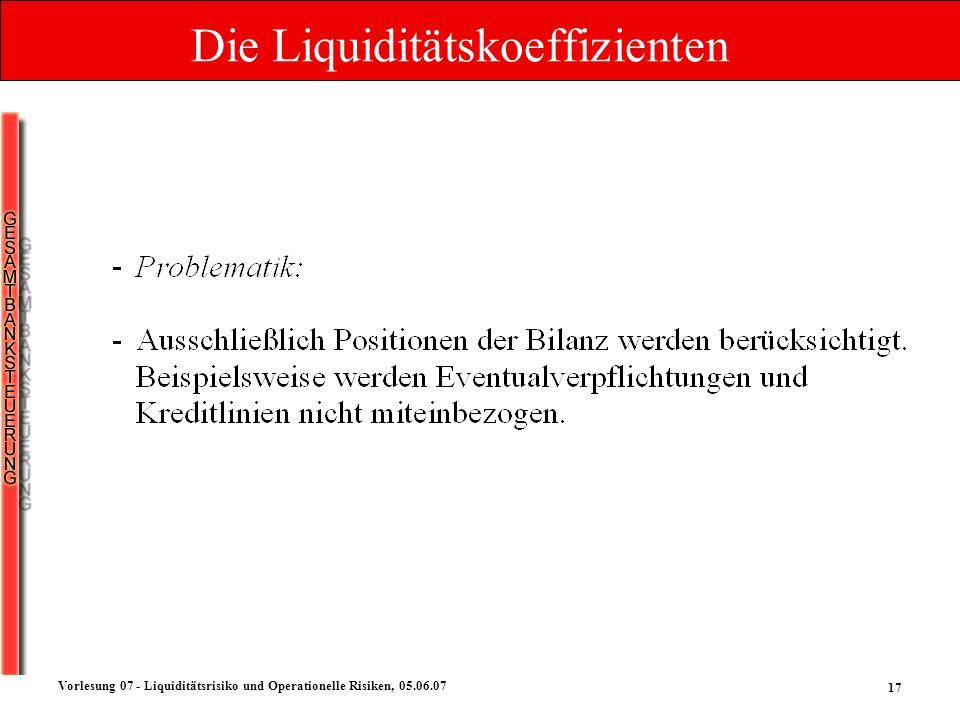 Die Liquiditätskoeffizienten