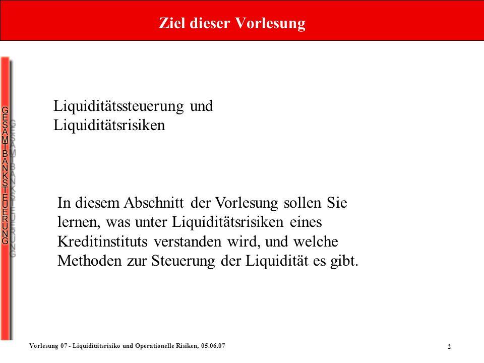 Ziel dieser Vorlesung Liquiditätssteuerung und Liquiditätsrisiken.