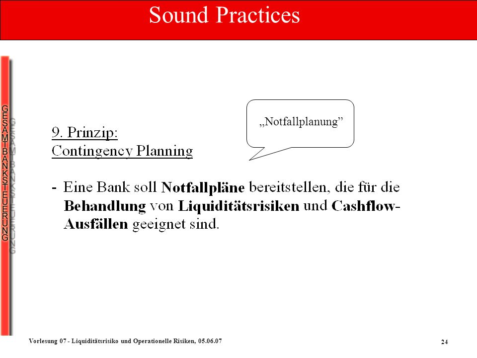 "Sound Practices ""Notfallplanung"