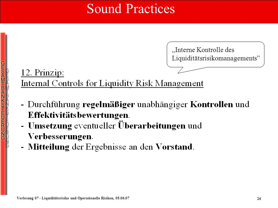 "Sound Practices ""Interne Kontrolle des Liquiditätsrisikomanagements"