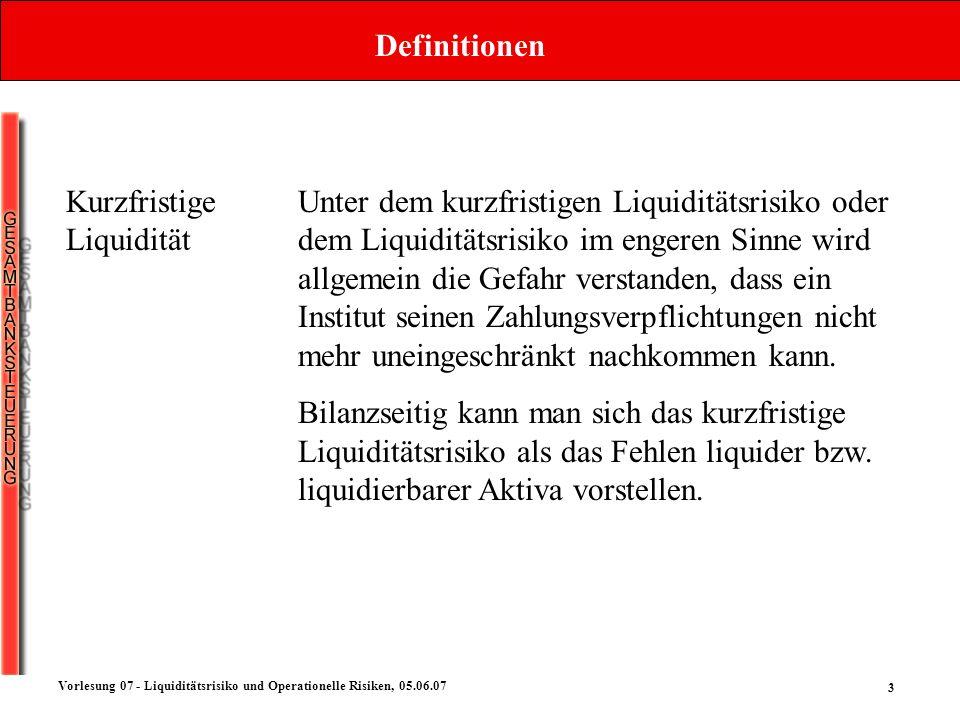 Definitionen Kurzfristige Liquidität.