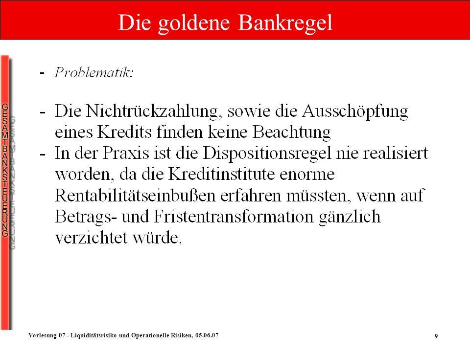 Die goldene Bankregel