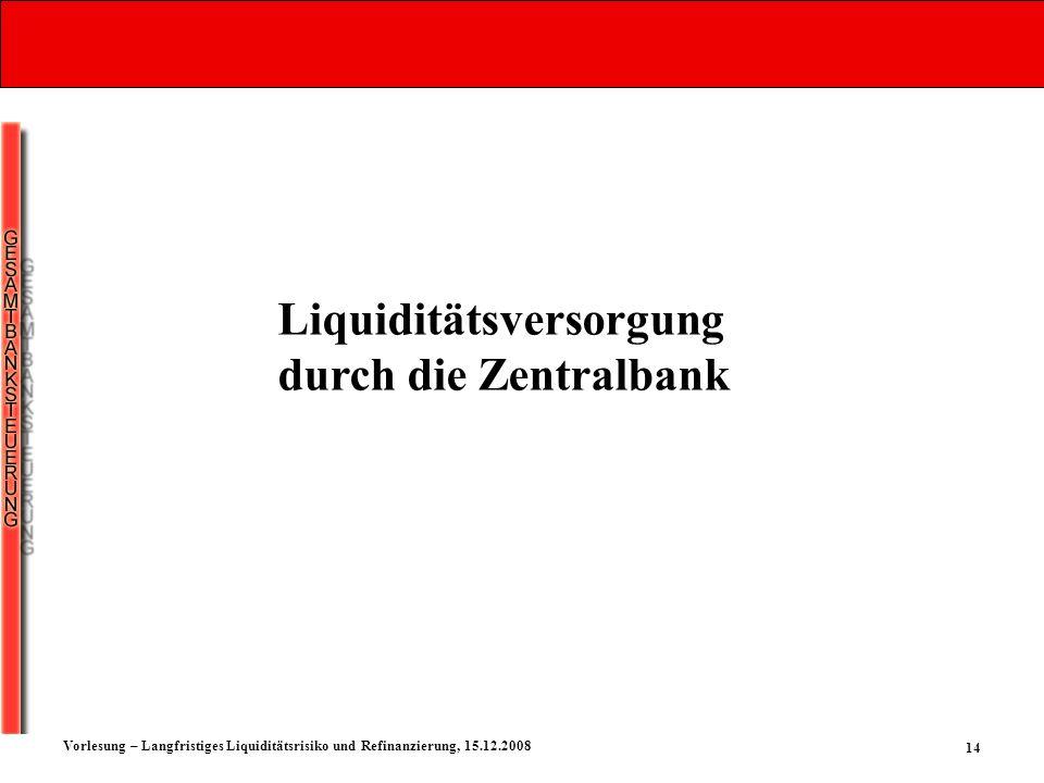 Liquiditätsversorgung durch die Zentralbank