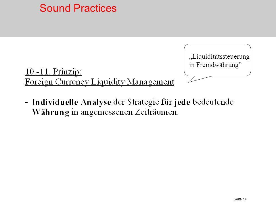 """Sound Practices """"Liquiditätssteuerung in Fremdwährung"""