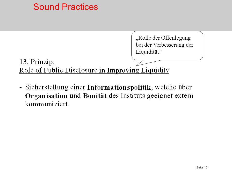 """Sound Practices """"Rolle der Offenlegung bei der Verbesserung der Liquidität"""