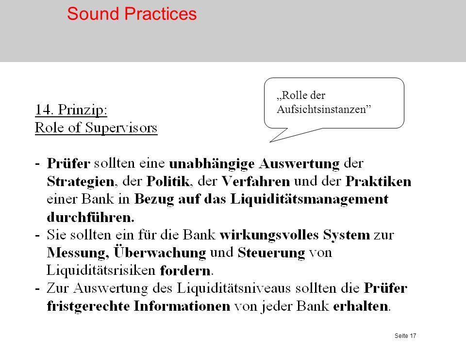 """Sound Practices """"Rolle der Aufsichtsinstanzen"""