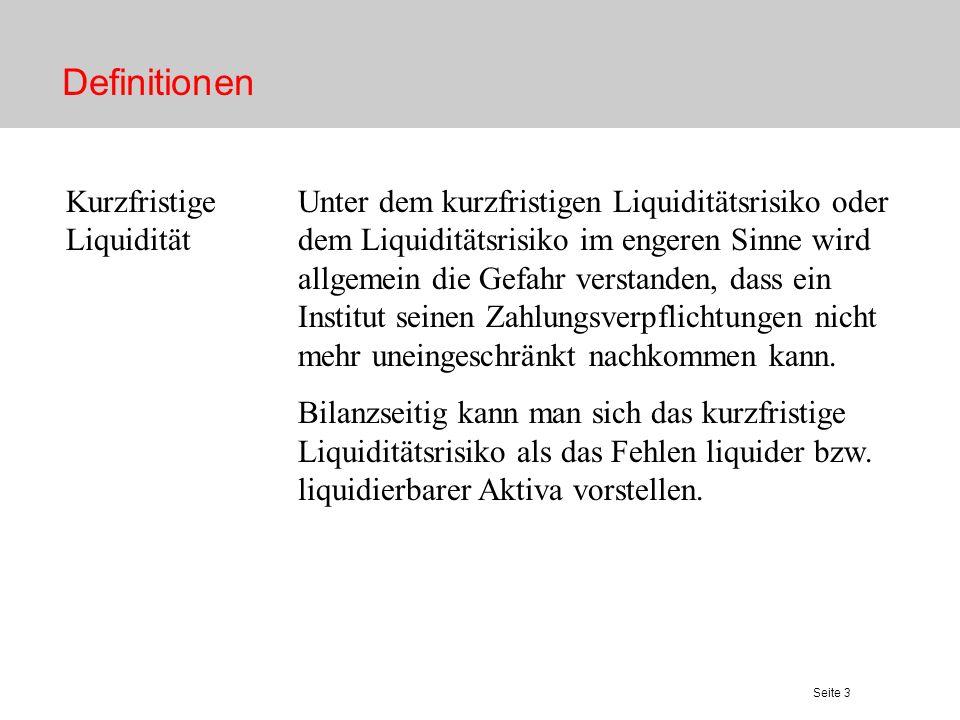 Definitionen Kurzfristige Liquidität