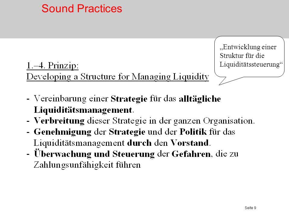 """Sound Practices """"Entwicklung einer Struktur für die Liquiditätssteuerung"""