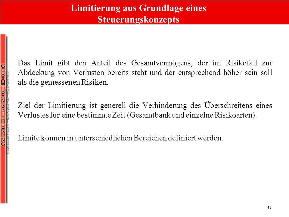Limitierung aus Grundlage eines Steuerungskonzepts