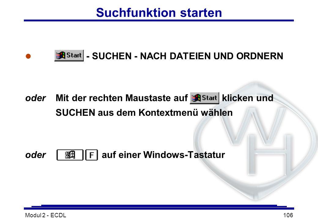 Suchfunktion starten - SUCHEN - NACH DATEIEN UND ORDNERN