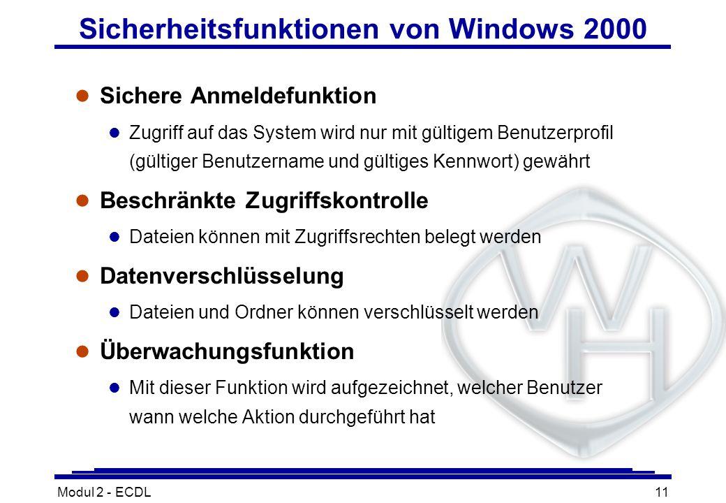 Sicherheitsfunktionen von Windows 2000