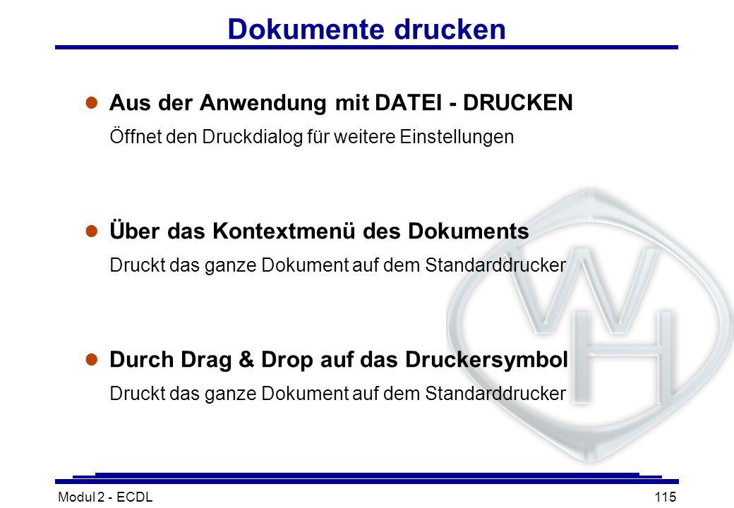 Dokumente drucken Aus der Anwendung mit DATEI - DRUCKEN Öffnet den Druckdialog für weitere Einstellungen.