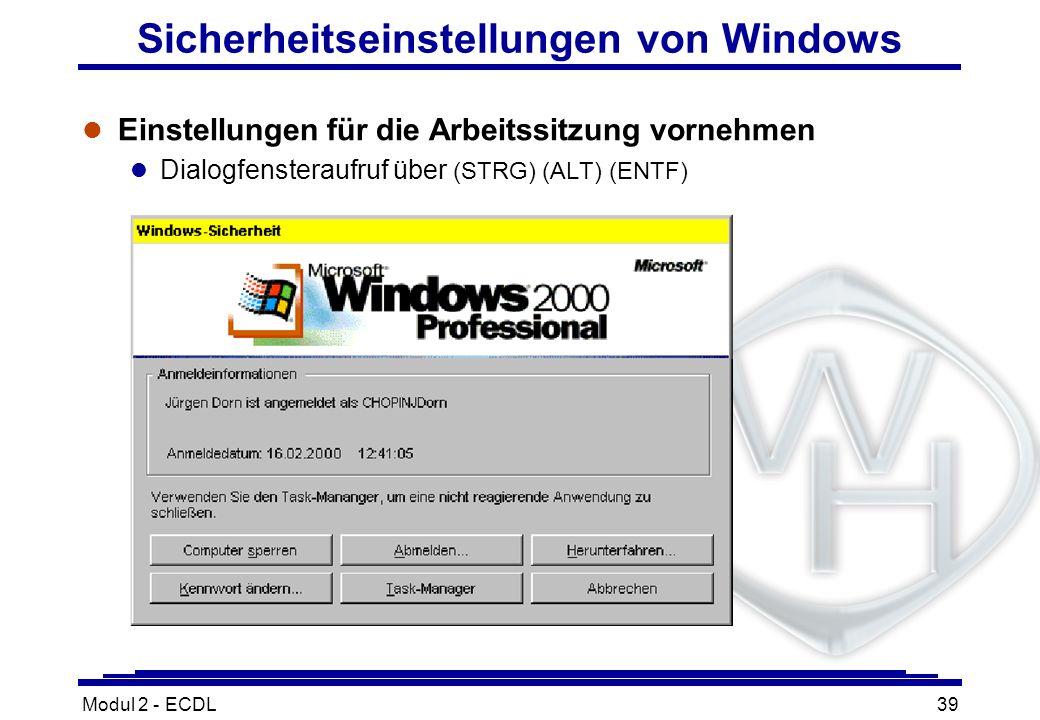Sicherheitseinstellungen von Windows