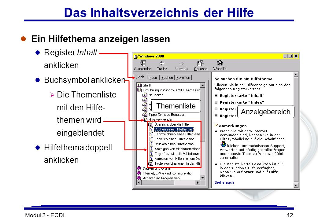 Das Inhaltsverzeichnis der Hilfe