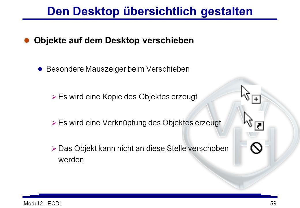 Den Desktop übersichtlich gestalten