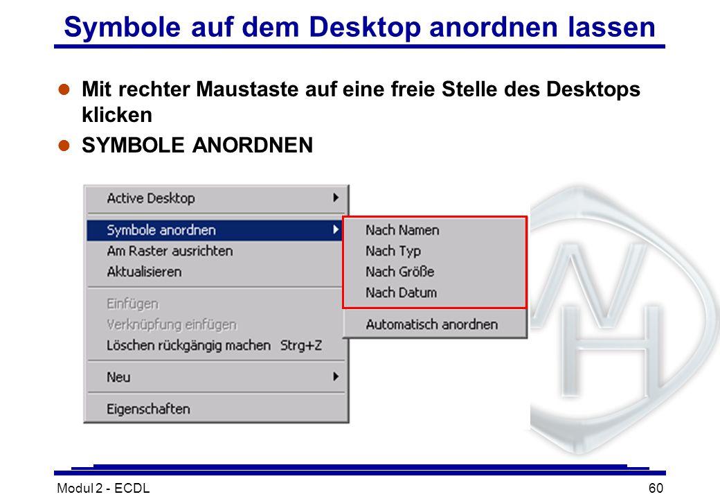 Symbole auf dem Desktop anordnen lassen