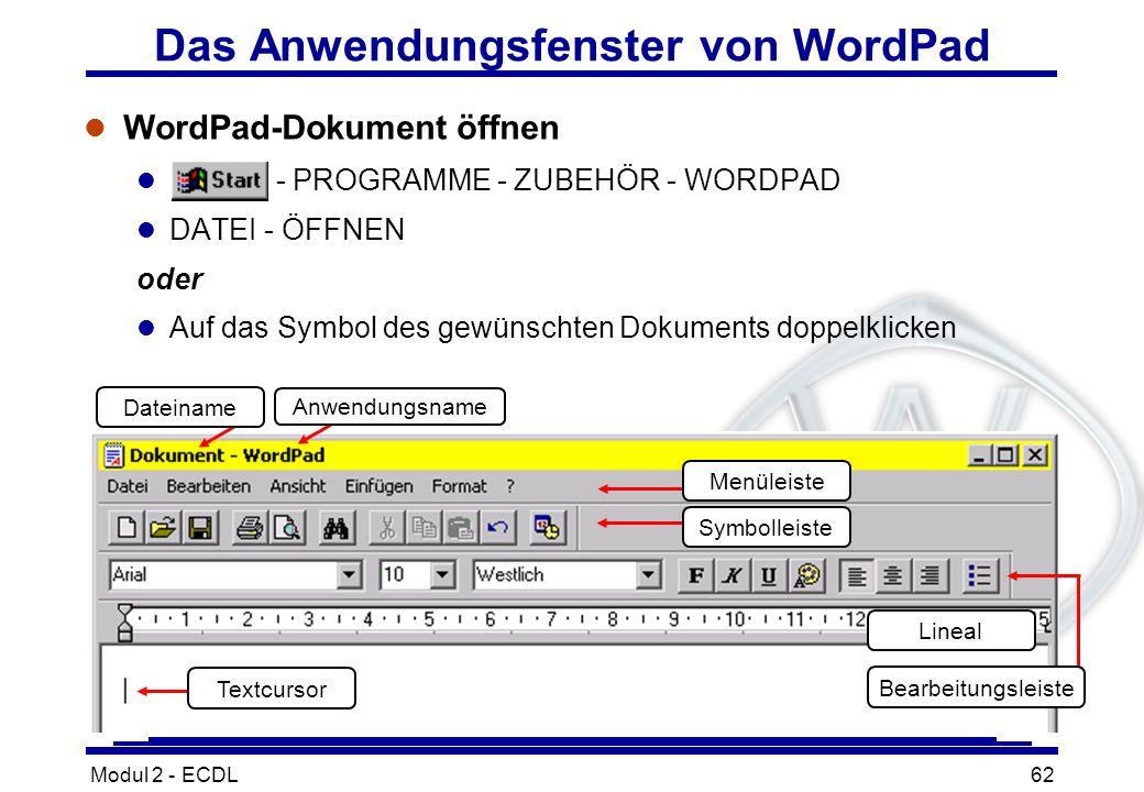 Das Anwendungsfenster von WordPad