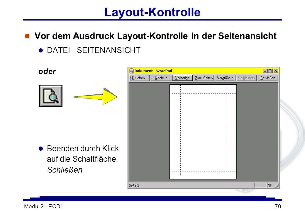 Layout-Kontrolle Vor dem Ausdruck Layout-Kontrolle in der Seitenansicht. DATEI - SEITENANSICHT. oder.